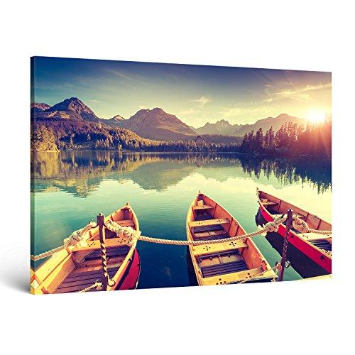 """ge-Bildet® Bild auf Leinwand MIT HERBST RABATT Naturbilder Landschaftsbilder """"Tatra Nationalpark in der Slowakei"""" natur türkis sonnenuntergang - 120x80 cm einteilig XXL 2213 D"""