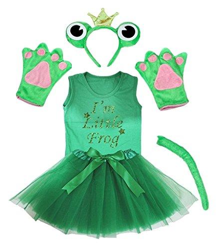 Petitebelle Kronen-Stirnband Bowtie Schwanz Handschuhe Hemd Rock 6pc Mädchen-Kostüm 6-8 Jahre Frosch (Mädchen Frosch-kostüme Für)