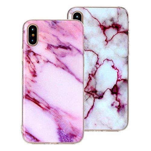 2 x iPhone X Schutzhülle, Rosa Schleife iPhone 10 Ultra Dünn TPU Backcover Weiche Silikon Cases Cover Marmor Hülle Kratzfest Handyhülle Schale Bumper für iPhone X / 10 2 Stück - 5