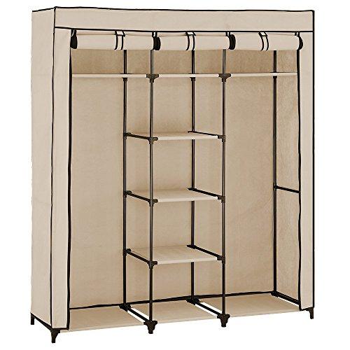 Neu.holz] armadio pieghevole (175 x 150cm)(beige) armadio tessile - armadio vestiti idiale per vestiti stagione e studenti