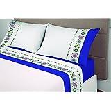ALGODONEA- Juego de sábanas 100%algodón,azul, MANTEROL. (150)
