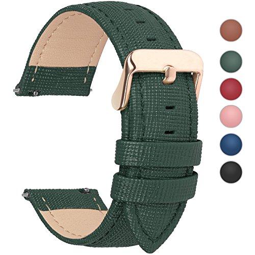 Leder-band Mit Rolex-uhren (Uhrenarmband, Fullmosa® Cross Serie Echtes Lederarmband Ersatzband Smart Watch Armband mit Edelstahl Metall Schließe 20mm Dunkelgrün)