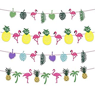 Rocita Party Banner Decoration Astarye Flamingo Pineapple Leaves Tropical Banner Happy Birthday Garland Banner Coconut Tree