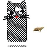 Samsung Galaxy A310 Coque, Fashion TPU Soft Cover Housse pour Samsung Galaxy A3 2016 étui / 3D chat Cartoon Stripe / Samsung Galaxy A310 Case Anti choc Durable & ring Support de téléphone