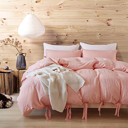 ktlrr waschbar, Baumwolle, Bettbezug-Set, humanismus 400-Serie-Fadenzahl Bettwäsche Set Single Double King Size 3Stück 2-teilig Bettbezug Bettwäsche-Bezug mit 2Kissenbezüge, moderner Stil, rose, Doppelbett