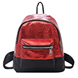 HCFKJ Tasche, Mode Frauen Studenten Leder Schultertasche Hit Farbe Schultasche Tote Rucksack (RD)