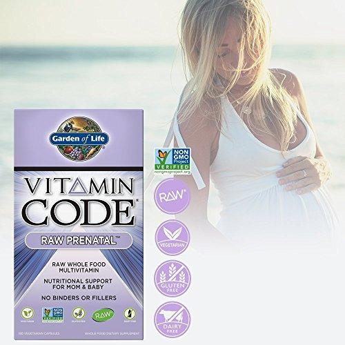 Garden of Life Vegetarian Prenatal Multivitamin Supplement – Vitamin Code Raw Prenatal Whole Food Vitamin for Mom and Baby, 180 Capsules