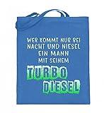 Hochwertiger Jutebeutel (mit langen Henkeln) - Nacht und Niesel Turbo Diesel
