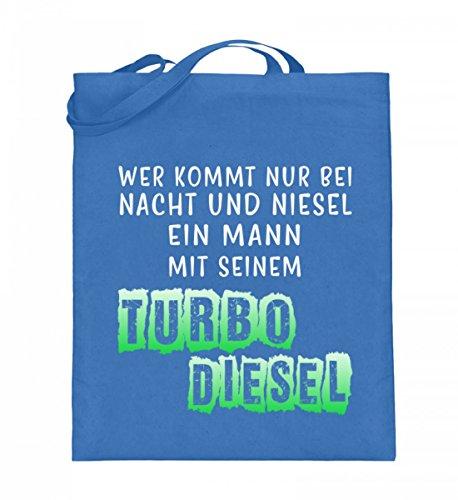 Hochwertiger Jutebeutel (mit langen Henkeln) - Nacht und Niesel Turbo Diesel Blau