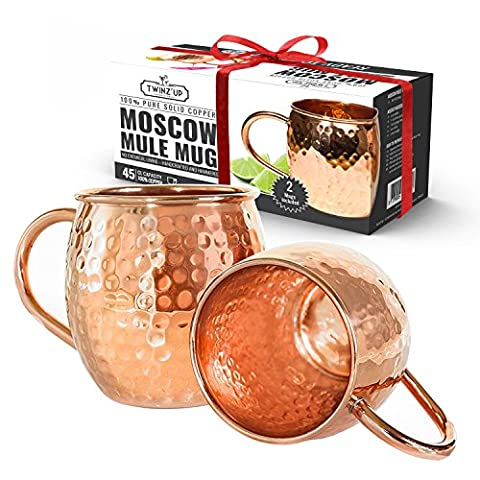 Solid Copper Moscow Mule Mug - Set of 2 Twinz'Up Mugs - No Lining - 100% Pure Copper - Hammered Type Copper Mug - 45 cL Capacity - Great for Any Chilled Beverage! Brilliant for Entertaining & Your Home Bar Cart! Unique Barware Gifts for Women & Men.