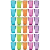 idea-station Tasses en plastique réutilisable 350 ml 30 pièces, transparentes ou colorées de couleur, empilable utilisables comme verres à eau, verres à whisky, verres à cocktail, gobelet en plastique sont incassables, incassable, Farbe:farbig