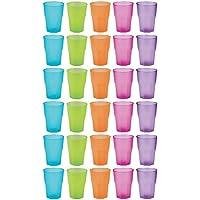 idea-station Vasos de plástico reutilizable 350 ml 30 piezas, transparente o de color de colores, utilizables como apilar vasos de agua, vasos de whisky, vasos de cóctel, vasos de fiesta, vaso de plástico son irrompibles, irrompible, Farbe:farbig