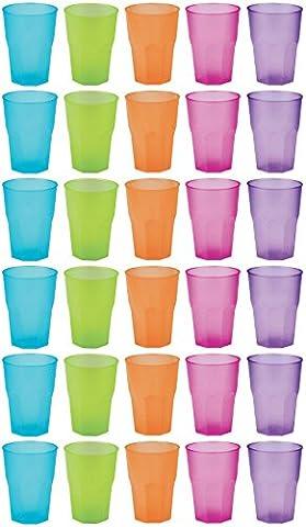 idea-station PP Plastik-Gläser mehrweg 350 ml 30 Stück, bunt, stapelbar