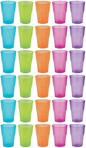 einweg cocktailglaeser idea-station PP Plastik-Gläser mehrweg 350 ml 30 Stück, bunt, stapelbar auch als Wasser-Gläser, Whiskey-Gläser, Cocktail-Gläser, Longdrink-Gläser einsetzbar, Party-Becher für Beer-Pong, Plastik-Becher sind bruchsicher, unzerbrechlich