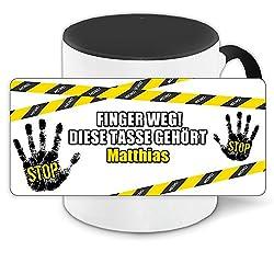 Büro-Tasse mit Namen Matthias und schönem Motiv - Nr. 3 - Finger weg, diese Tasse gehört, Farbe: schwarz