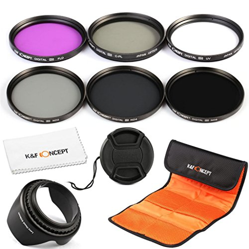 K&F Concept® Objektiv Filterset 55mm Filter Kit Filter 55mm ND2 ND4 ND8 Filterset ND Filter 55mm UV Filterset Schutzfilter 55mm CPL Filter 55mm FLD Filter 55mm Polfilter 55mm FLD Filter 55mm für Sony Sigma Tamron Kamera mit Gegenlichtblende 55mm Reinigungstuch Filtertasche Objektivdeckel