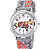 DISNEY Boy's Cars 3' Quartz Stainless Steel and Nylon Casual Watch, Color:Grey (Model: WDS000460)