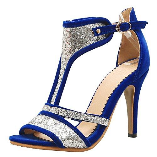 MissSaSa Donna Sandali col Tacco Alto Spicco Ballo Blue
