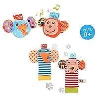 ThinkMax 4PCS Baby Rattles, Cute Velvet Animal Wrist Rattles and Foot Finder Set, Developmental Soft Toys Dolls for Infants (Monkey and Elephant)