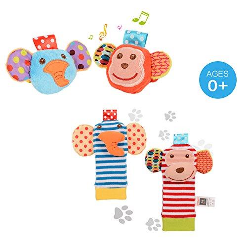 ThinkMax 4PCS Sonajeros para bebés, Sonajeros de muñeca de Terciopelo Lindo para Animales y Buscador...