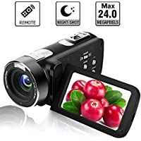 "Video Camera Camcorder Full HD 1080p Digital Camera 24.0MP 18x Digital Zoom 3.0"" LCD 270° Rotation Screen with Remote Control"