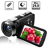 Videocamera Camcorder Fotocamera Digitale Full HD 1080p 24.0MP Zoom digitale 18x 3.0'Schermo LCD 270 ° con telecomando