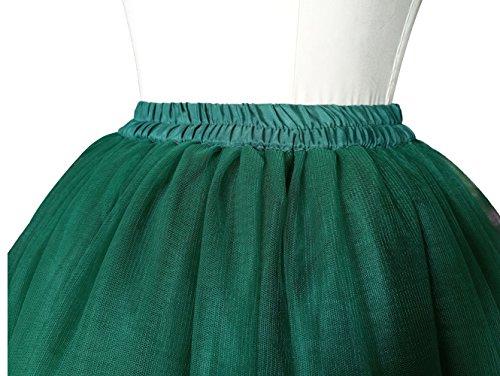 Omela Tüllrock Damen Vintage Tutu Rock Tanzrock Unterrock Petticoat Prinzessin Rock Dunkelgrün