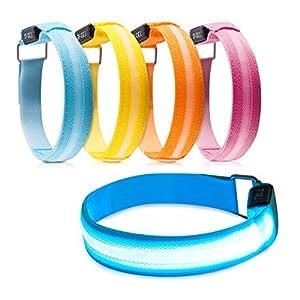 kwmobile 2X LED Leucht Armband Leuchtband – Laufen Joggen – Leuchtarmband Licht für Kinder und Erwachsene – Blinklicht
