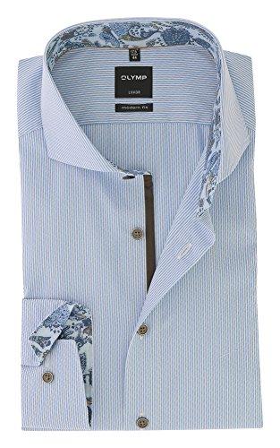 OLYMP -  Camicia classiche  - A righe - Uomo Azzurro, bianco
