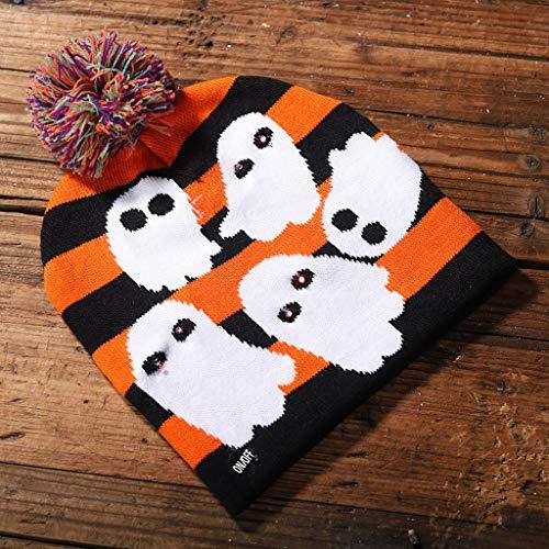 YoungerY Unisex Männer Frauen LED Licht Beanie Hut Elastische Strickmütze Kostüm Für Halloween Party Supplies Dekoration