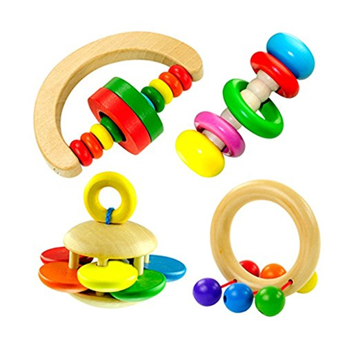 Bluelans Cute Baby Kids Colorful Wooden Educational Grasping Rattle Handbell Toy 51UpGIDTh0L