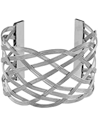 Wire Mesh Party Statement Imported Silver Free Size Cuff Kada Bangle Bracelet For Girls Women