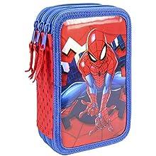 Cerdá Plumier Metalizada, Trousse à Crayons métallique Spiderman Premium Triple Giotto Mixte Enfant, Multicolore, 12.5 X 19.5 X 6.5 cm
