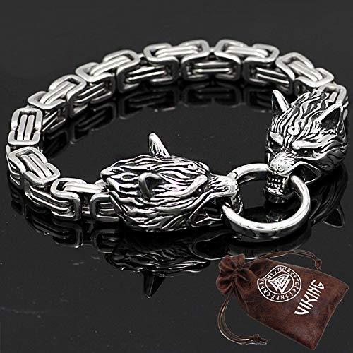 erren Edelstahl Doppelkopf Viking Celtic Wolf Armband Odin King Dickes Armband Handgemachte Kette,23cm ()