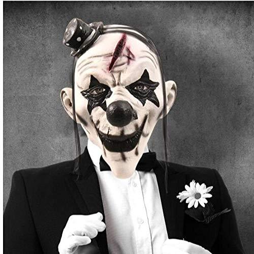 Clown Maske Für Erwachsene (Deluxe Scary Clown Maske Erwachsene Latex Weißes Haar Halloween Clown Schlechte Killer-AU)