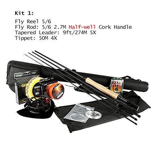 OVEA Fliegen Angeln Kits 2,7 M Fliegen Angelruten 5/6 7/8 CNC-Gefräste Aluminium Fly Reel Mit Angeln Lockt Und Linien Stange Combo,1 -