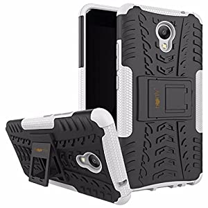 Heartly Meizu M5 Note Back Cover Kick Stand Rugged Shockproof Tough Hybrid Armor Dual Layer Bumper Case - Best White