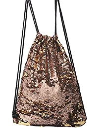 Tinksky Danza bolso lentejuelas lazo Casual mochila, regalo para las mujeres (oro)