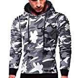 MRULIC Herren Langarm Camouflage Hoodie Sweatshirt Tops Oberbekleidung Kapuzenpulli mit Taschen RH-014(C-Grau,EU-48/CN-XL)