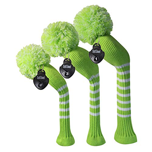 Lime Green Color Classic Stripe Style Golf Club Pom Pom Headcover, Set of 3, for Driver/Fairway/hybrid, Soft,Washable, Anti-Pilling,Anti-Wrinkle, Long Neck -