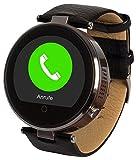 Enox RSW55 Smartwatch Bluetooth 4.0 SCHWARZ Rund Design Handyuhr 1,22' IPS Display kompatibel mit iOS iPhone Android Schrittzähler G-Sensor