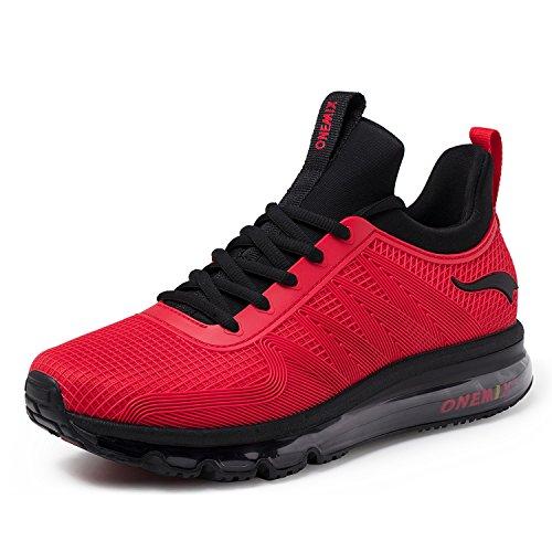 onemix Air Laufschuhe Herren Leichte Sportschuhe mit Luftpolster Turnschuhe Fitness Schuhe Sneakers Schwarz/Rot 44 -