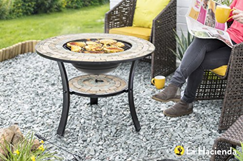 La Hacienda 70cm Diameter Mosaic Tiled Firepit With Grill And Shelf