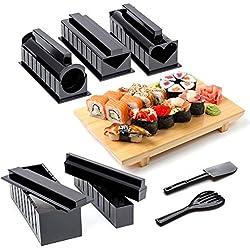 Kit per Fare il Sushi a Casa, Set Completo da 10 Pezzi con 5 Rotoli e Accessori, Stampi e Forme per Fai da Te (Istruzioni dettagliate incluse)