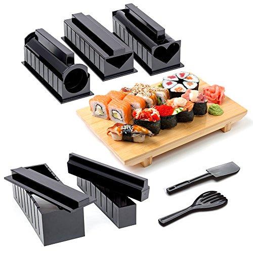 Kit Completo para Sushi Japonés – Juego de 10 Piezas – 5 de Moldes, Herramientas y Utensilios – Accesorios para Hacer Sushi – Fabricante de Cocina Japonesa DIY (Instrucciones detalladas incluidas)