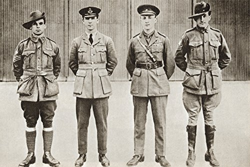 Ken Welsh / Design Pics - Sir Ross Macpherson Smith (Third From The Left) And His Brother Sir Keith Macpherson Smith (Second From The Left) With Their Crew Members. Australian Aviators Who Became The First Pilots To Fly From England To Australia In 1919. From The Story Of 25 Eventful Years In Pictures Published 1935. Photo Print (48,26 x 30,48 cm)