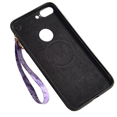 iPhone 6sPlus Hülle, Gelb Kirschblüten-Serie CLTPY iPhone 6Plus Handytasche [Schwarz Silikon Rahmen + Hart Plastik Abdeckung] mit PU Leder Lanyard für Apple iPhone 6Plus/6sPlus + 1 x Freier Stylus Lila