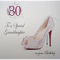 WHITE COTTON CARDS 30 to a Special Granddaughter, Handmade Large 30th Birthday Card(Glitter Ball & Shoes)