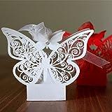 ULTNICE 50pcs Folable mariposa 3D cajas de regalo de dulces para fiesta de boda con cintas blancas