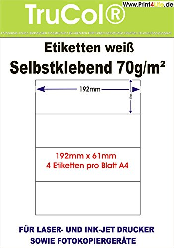 Etiqueta Etiquetas blancas 192x 61en formato DIN
